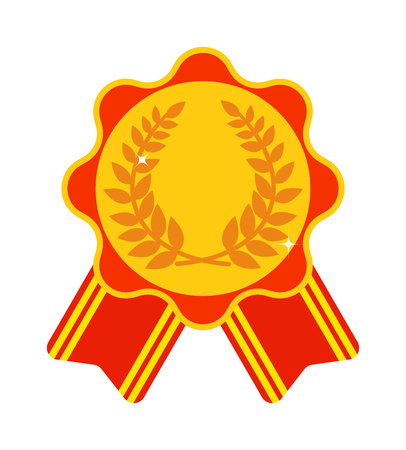 primer lugar: medalla de Premio cinta primer lugar del vector y el primer lugar premio a la cinta ganadora de la medalla. Medalla de primer lugar símbolo de éxito y la medalla de primer deporte del campeón del lugar. Medalla de primer lugar trofeo emblema.