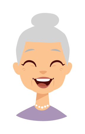 grey hair: Old people cute granny and funny cute granny face. Cute granny vector character and cartoon cute happy granny. Cute granny adult happy woman face and old granny character love lifestyle.