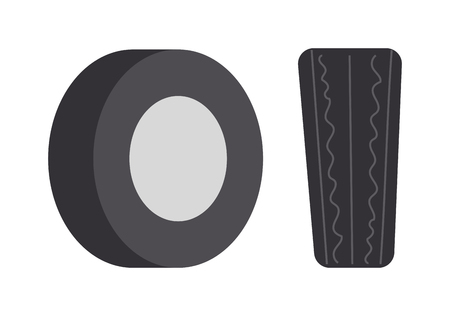 traction: Single car tire isolated and car tire vector illustration. Wheel rubber black tyre auto car tire and car tire automobile detail rim. Shiny heap track car tire. Traction race equipment. Illustration