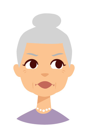 older woman smiling: Very attractive senior lady isolated on white. Granny face vector and granny face cute cartoon lady. Granny face old senior female person and elderly beautiful age granny face.