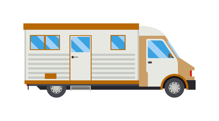 abandoned car: Old camping trailer house standing summer day, nature holiday trailer house concept. Trailer house vector and trailer house mobile park caravan. Trailer house travel camper truck vehicle.