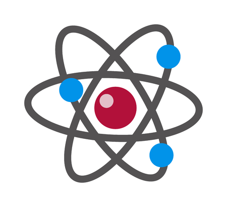 nucleus: Atom icon modern minimal flat design style. Vector illustration atom icon science symbol and atom icon chemistry technology molecular power. Physics science atom icon nucleus particle. Illustration