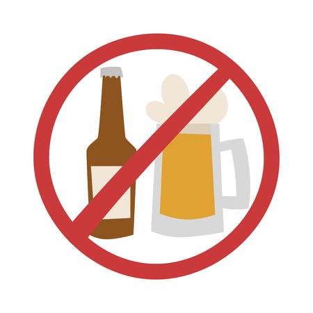 alcoholism: Stop drink no beer design and vector illustration stop drink. Stop drink alcohol glass no sign. Beer symbol forbidden alcoholism stop drink and alcoholic warning concept stop drink.