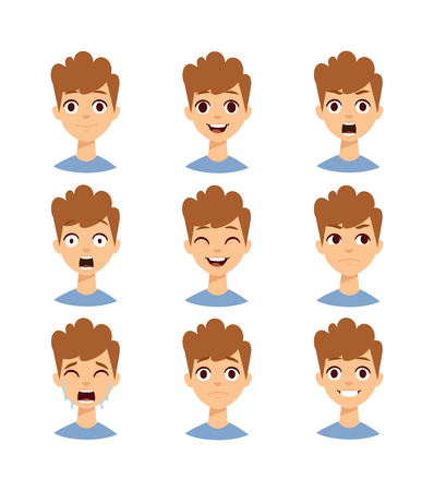anger kid: Illustration boy faces showing different emotions and boy face vector set. People expression child smile boy face and boy face little fun portrait head. Childhood curly hair, sad boy face character.
