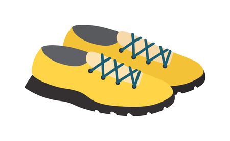 footwear: Yellows sneakers isolated and fashion footwear yellow sneakers. Vector yellow sneakers and pair sport yellow sneakers. Fashion yellow footwear fitness clothing running shoelace athletic accessories.