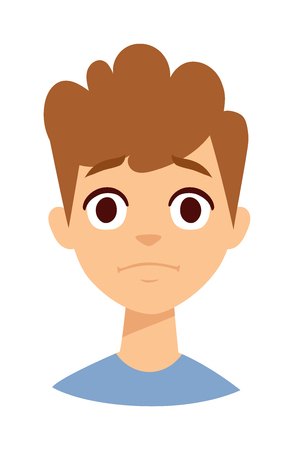 bad mood: Boy makes angry face. Angry boy face vector and cute little angry boy. Cartoon character angry boy emotion face and angry boy sadness innocence bad mood. Cute kid expression emotion face. Illustration