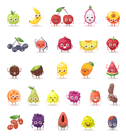 Funny fruit characters cartoon isolated and Fruit characters big set. Fruit characters vector illustration and sweet fruit characters funny happy faces. Fruit characters cartoon design diet nutrition.