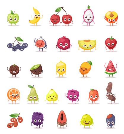 Lustige Früchte Zeichen Cartoon isoliert und Obst Zeichen großen Satz. Obst Zeichen Vektor-Illustration und süße Frucht Zeichen lustige glückliche Gesichter. Obst Zeichen Ernährung Cartoon-Design-Diät. Standard-Bild - 56959015