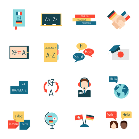 interpretation: Set vector illustration icons for educational programs languages education, distance education, online learning. Languages school process languages education, webinars, languages school isolated. Illustration