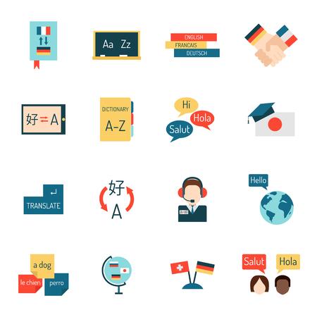 programs: Set vector illustration icons for educational programs languages education, distance education, online learning. Languages school process languages education, webinars, languages school isolated. Illustration