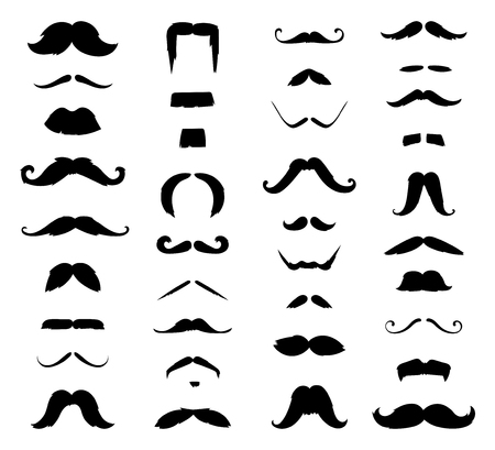 Huge set of black sikhouette vector mustache. Mustache black hair and man mustache hipster set. Mustache retro curly black silhouette collection beard mustache. Mustache barber silhouette hairstyle Vectores