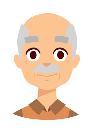 old man standing: Happy year old senior man standing isolated on white background. Happy grandpa senior old man person and happy grandpa older mature happiness smiling man. Happy grandpa retired elderly face. Illustration