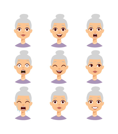 Old people grandmother emotions expression icons and funny granny emotions vector. Isolated set of funny grandmother avatar expressions face emotions vector illustration. Grandmother face Çizim
