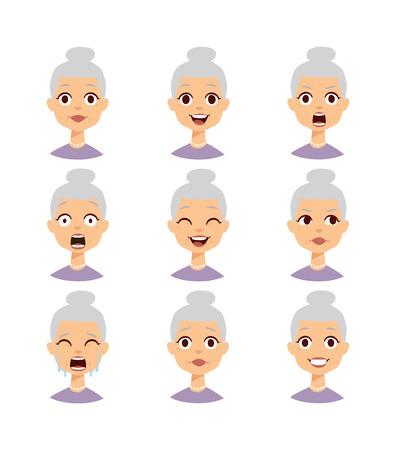 Oude mensen grootmoeder emoties iconen en grappige oma emoties vector. Geïsoleerde set van grappige grootmoeder avatar uitdrukkingen gezicht emoties vector illustratie. grootmoeder gezicht