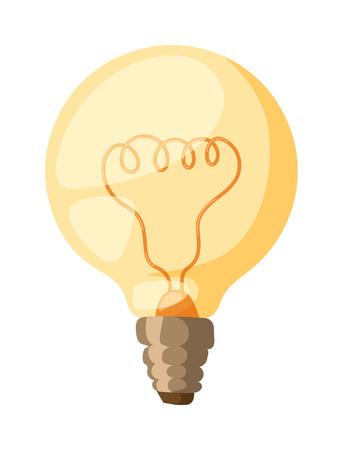 tungsten: Glowing yellow light bulb, turn on tungsten light bulb isolated. Light bulb vector and electricity power inspiration light bulb. Bright isolated technology invention light bulb, glass light bulb. Illustration