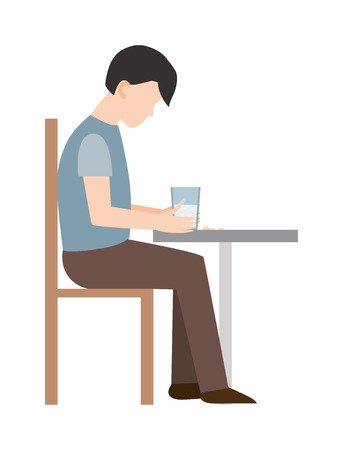 intimidate: Anxious man clutching his head loser. Loser man. Sad loser man on chair. Vector flat style illustration loser isolated. Headache pain loser man and loser expression competition sad unhappy.