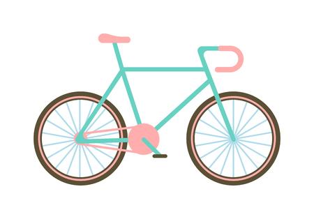 old road: Flat bike basket flowers and girl bike vector cartoon travel cycle. Classic bike happy sport leisure and girl bike urban ride fashion healthy transport. Old road biking, leisure style street bike.
