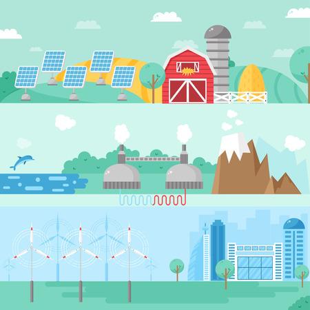 windfarm: Alternative energy design concept set with eco fuel and alternative energy house flat icons isolated vector illustration. Alternative energy banners concept and fuel business sign alternative energy.