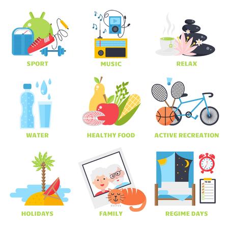 健康的なライフ スタイル コンセプト、ダイエットやフィットネス健康的なライフ スタイルのベクトル図ライフ スタイル健康フィットネス スポーツと健康的なライフ スタイル ダイエット新鮮な栄養。健康的なライフ スタイル スポーツ、新鮮を食べるします。