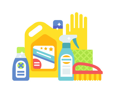 cleaning products: House cleaning hygiene and cleaning products flat vector icons set. Vector cleaning products symbols. House cleaning illustration. Cleaning icons isolated on white background