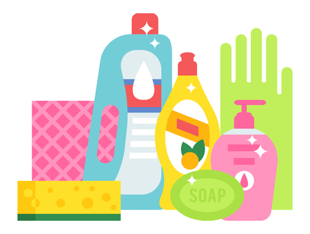 disinfect: Plastic detergent household chemicals bottles on white. Cleaning products household chemicals and housework, equipment household chemicals domestic product liquid. Housekeeping disinfect tool. Illustration