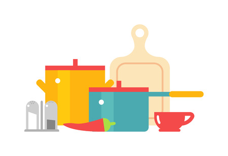 Colorful cookware icon set. Pots cookware and pan cookware vector illustration. Vintage cookware dinner preparation home domestic label. Cookware frying cookery and culinary cookware element utensils.