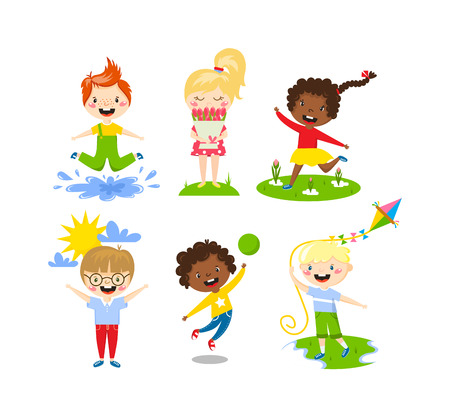 Many different summer kids, boys and girls running in park on sunny summer day. Summer kids casual clothes and playing summer kids. Summer kids outdoor leisure activity. Children healthy camp group.