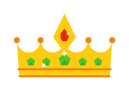 authority: Vector illustration golden crown with red gemstone isolated on white. Golden crown icon and success authority golden crown. Golden crown majestic decoration and kingdom golden crown jewelry. Illustration