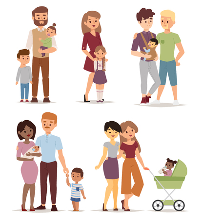 Different gay family, different kind of families. Different family special needs children and different family blended couple. Different family lifestyle baby husband kid and friendship parents set. Ilustração