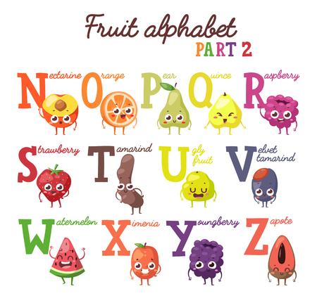 Alfabeto De Fruta Inglés Alfabeto De Frutas Y Frutos De