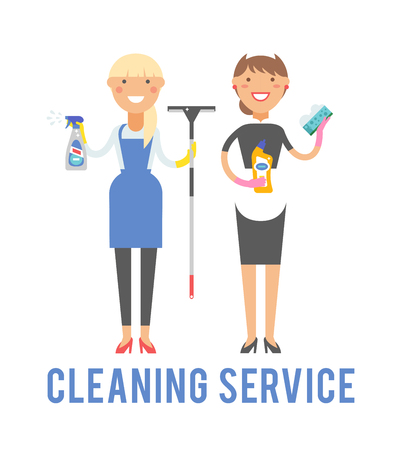 cleaning cloth: Professional cleaning service in uniforms during work and cleaning service vector characters. Cleaner home equipment worker cleaning service and hygiene interior working occupation cleaning service.