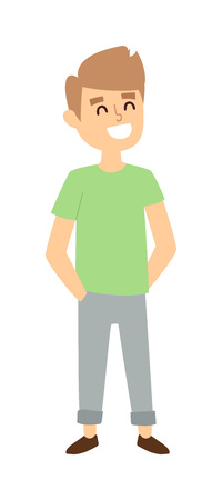 young schoolchild: Attractive young boy stands. Fashion small school boy stands and youth cheerful fun boy stands. Vector character boy stands and lifestyle one beautiful stand adorable boy stands teen.