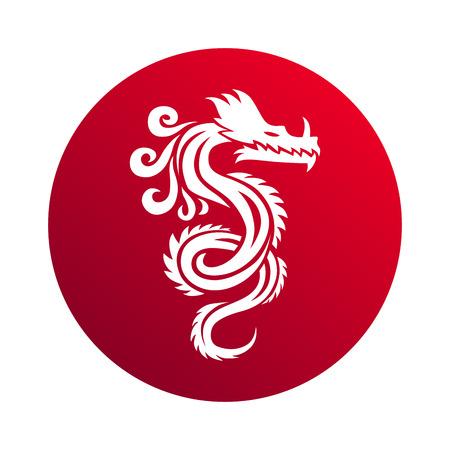 빨간 종이 드래곤 중국 조디악 기호입니다. 중국 용 벡터와 빨간 중국 용의 예술. 중국 용 상징 문화 전통 예술 디자인. 중국 용 동물 장식 고대의 전통.