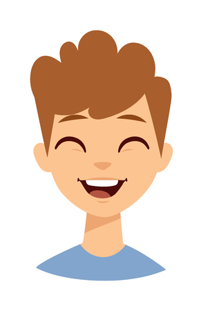 schoolboy: Happy cartoon laughing boy and Laughing boy vector character. Laughing boy face and lifestyle schoolboy preschooler casual laughing boy. Face cheerful little laughing boy, youth emotion laugh boy. Illustration