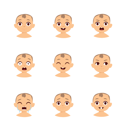teases: Set of cute baby emoticons. Baby emoticons flat characters, emoji expressive cartoon baby girl faces and baby emoticons, cheerful sign love emoji cute cheeks. Modern little boy funny vector style.