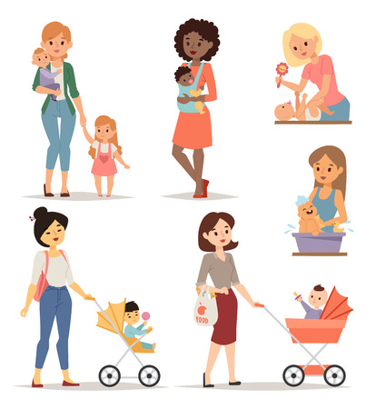single mother: Mother holding her cute little girl park and young mother happy parent. Young mother vector set and young mother cute daughter. Togetherness newborn face young mother lifestyle cheerful motherhood.