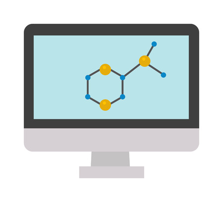 vector  molecular: Abstract molecular structure in form of sphere. Molecular structure sign and flat vector molecular structure. Molecular structure computer monitor sign and atom chemistry molecular structure. Illustration