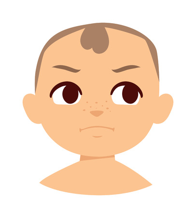 bad mood: Baby makes funny angry face. Angry baby face vector and cute little angry baby. Cartoon character angry baby emotion face and angry baby sadness innocence bad mood. Cute kid expression emotion face. Illustration