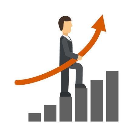 growth chart: Business man drawing growth chart and business growth chart arrow. Growth chart vector concept and diagram arrow finance progress growth chart. Graphic up stock investment infographic growth chart. Illustration