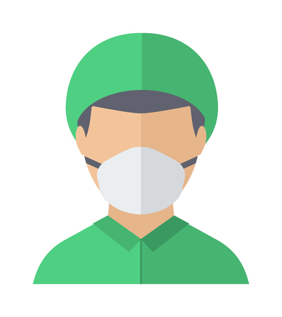 surgical mask: Mature male surgeon gazing doctor face and doctor face looking hospital. Doctor face vector character and doctor face health portrait care uniform people, professional hospital person.