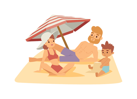 paradisiacal: Family having fun on beach and happy family on beach. Summer vacation family on beach and summer parasol family on beach. Vacation summer people sea, happy mother with kid travel outside. Illustration