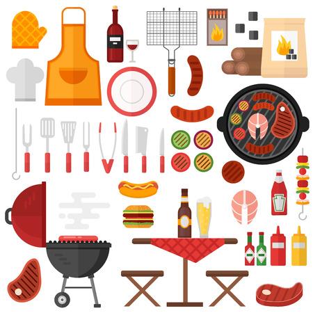 Bunte Grill Grill Icons Vektor-Illustration. Picknick-Grill und BBQ Grill Symbole Elemente im Cartoon-Stil. Perfekte Grill Kochen Grill-Symbole Symbol Küche im Freien Schweinefleisch Design.