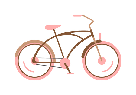 Girl bike basket flowers and girl bike vector cartoon travel cycle. Girl bike happy sport leisure and girl bike urban ride fashion healthy transport. Old wheel, road biking, leisure style street bike. Illustration