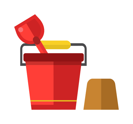 bucket and spade: Toy bucket and spade isolated. Child bucket and spade with sand vector icon isolated, kid toys tools symbol, pail shovel label, child bucket and spade modern design, sandbox place sign child bucket. Illustration