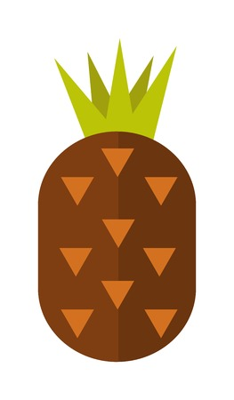 ananas: Pineapple isolated tropical healthy fruit, sweet juicy ananas tasty delicious vector. Ananas tropical fruit and ananas healthy fruit food. Tropical vitamin yellow pineapple fruit. Vitamin pineapple.