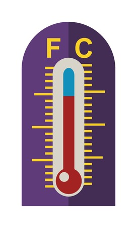 temp: Thermometer icon vector illustration and thermometer symbol. Indicator graphic thermometer and degree instrument scale season thermometer. Weather meteorology thermometer measure glass meter tool. Illustration