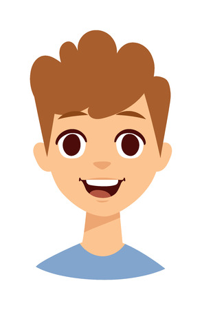toothless: Adorable young happy boy looking and laughing. Happy boy face emotion and Happy boy face toothless child. Curly hair happy boy face and emotion adorable cute happy handsome smiling boy. Illustration