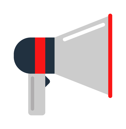 megaphone icon: Flat vector icon of megaphone for social media marketing concept. Megaphone icon announcement sound and speech bullhorn megaphone icon. Megaphone icon message communication loudspeaker.