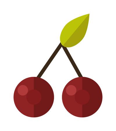 macro nature: Cherry isolated on white background and fresh red cherry fruit. Cherry red berry and raw vegetarian bright organic cherry. Ripe fresh dessert macro nature cherry healthy freshness delicious fruit. Illustration