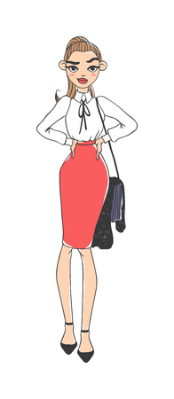 elegantly: Portrait of elegantly dressed young gorgeous brunette woman business lady. Business lady vector sketch and business lady cartoon character. Business lady beautiful female girl businesswoman. Illustration